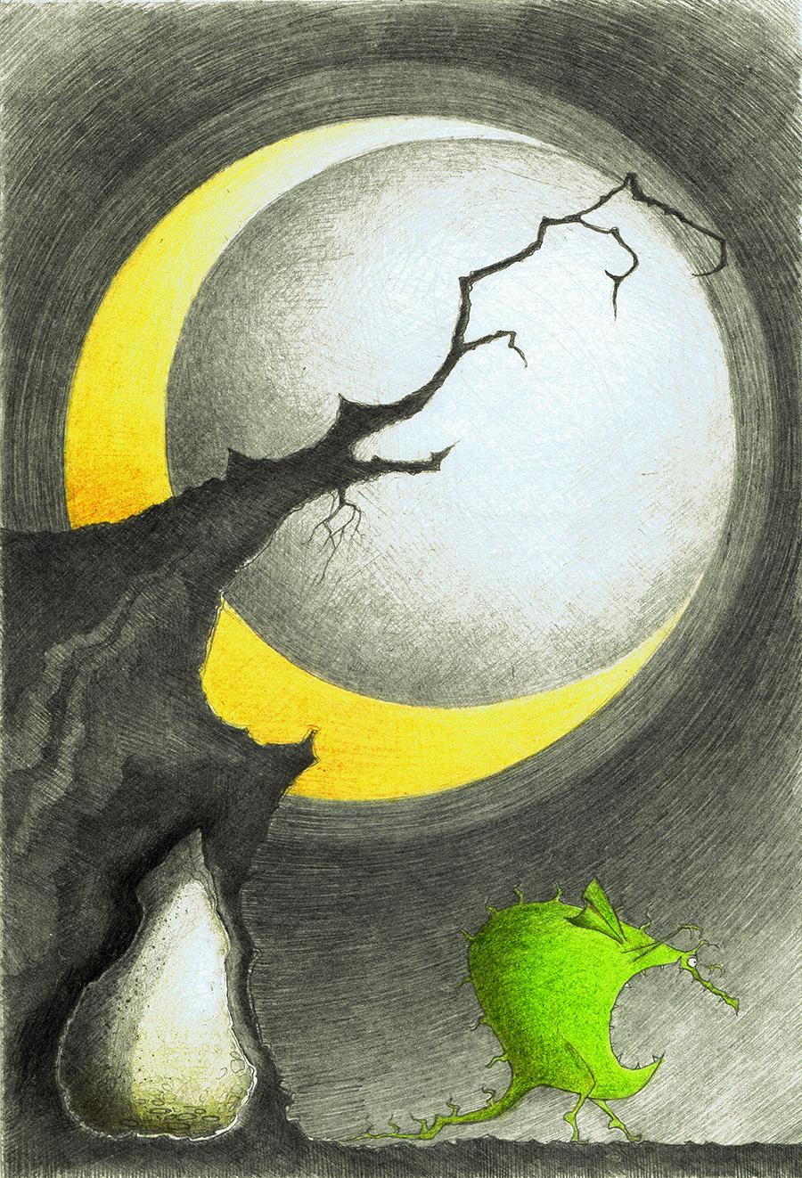 Drache im Mondschein-Bleistiftzeichnung