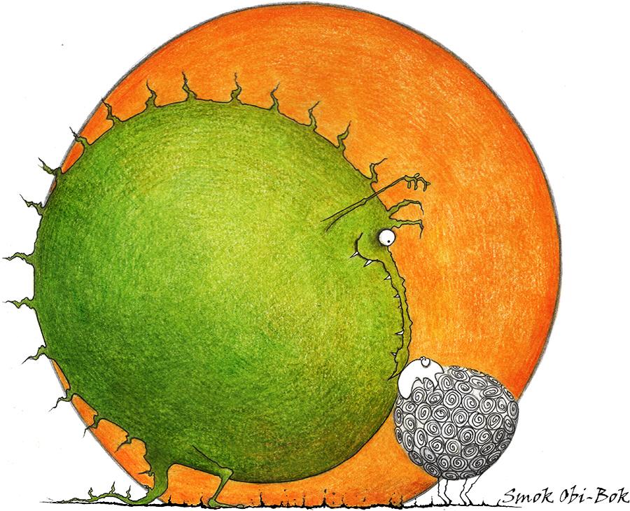 Illustration-Drache und Schaf