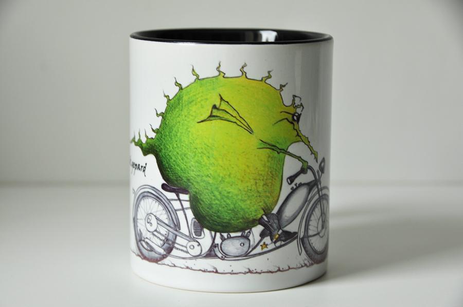 Illustration-Drache auf dem Motorrad