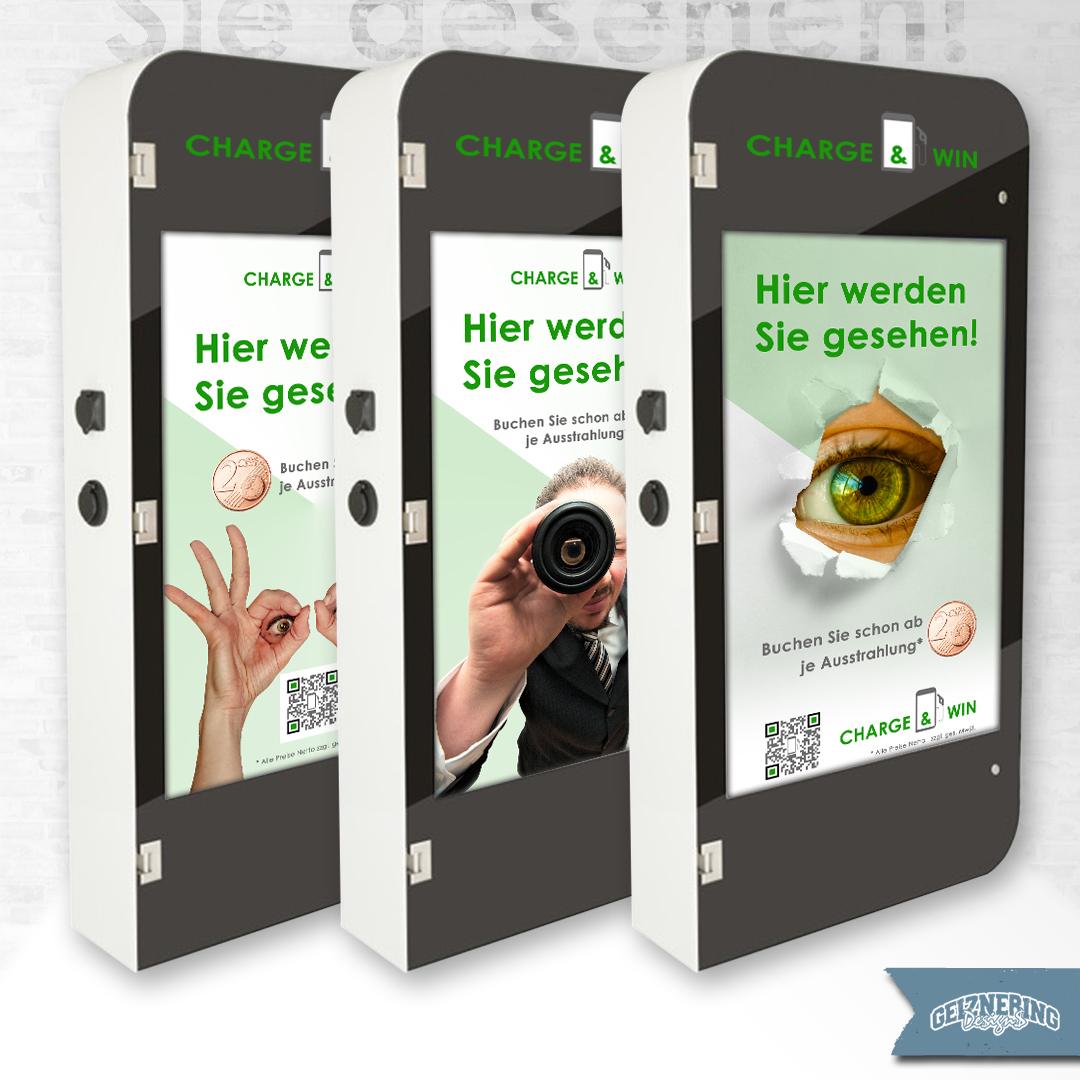 Screendesign für die E-Ladesäulen von Charge & Win