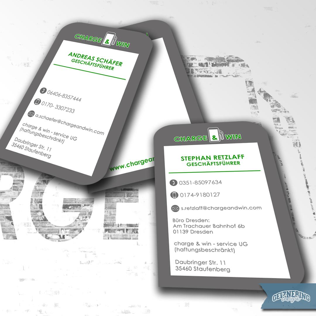 Visitenkartendesign für Charge & Win