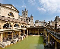Baños públicos romanos en Bath, Inglaterra. Reconstrucción posterior del área de baños.