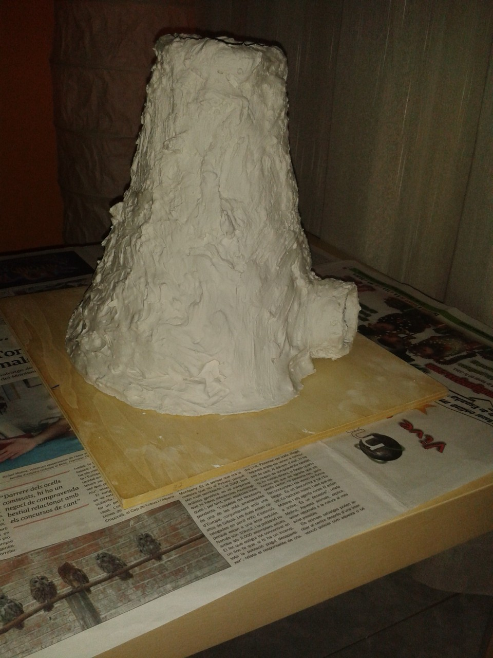 Primera maqueta del volcán.