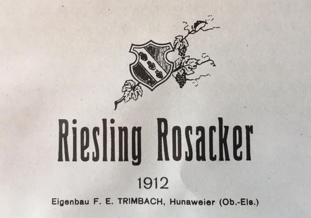 Riesling Rosacker 1912 -  C'est grâce à Frédéric Emile Trimbach, que le Rosacker et les Vins de Hunawihr acquièrent dés le début du XXe siècle une renommée internationale