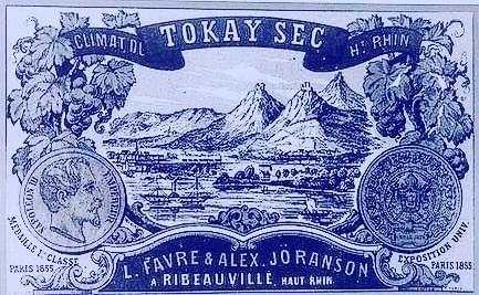 Etiquette de la maison de négoce Louis Favre et Alex Jöranson de Ribeauvillé faisant mention de Tokay sec climat du Haut-Rhin