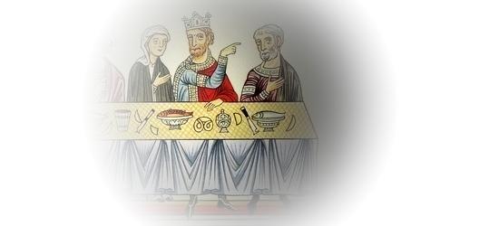 """Miniature """"Le festin d'Esther"""" (Ancien Testament, Esther 7,1-3), Hortus Deliciarum (1159-1175)"""