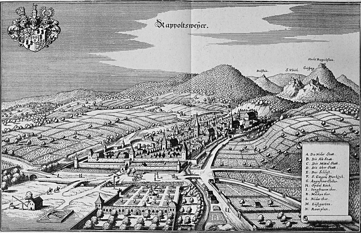 Ribeauvillé - Rappoltsweyer et ses vignobles  | Gravure de 1663 par Matthäus Merian, Topographia Alsatiae