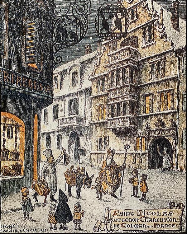"""Carte postale publicitaire pour la boucherie Fincker Frères """" Saint Nicolas et le bon charcutier de Colmar en France """" -  Hansi, Jean-Jacques Waltz, 1939"""