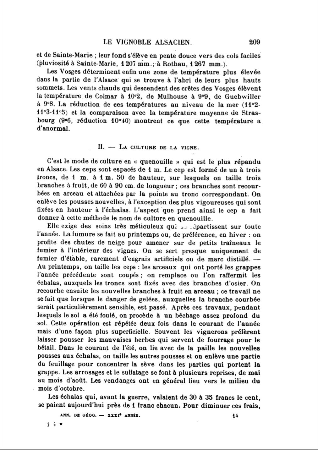 """""""Le vignoble alsacien"""" article de André Lucius publié en 1922 dans les Annales de Géographie t. 31, n°171, 1922. pp. 205-214"""