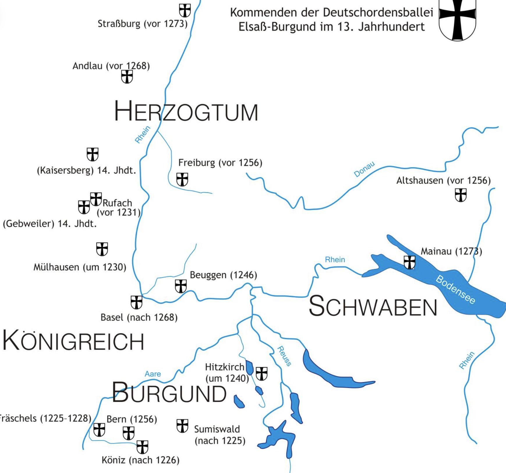 Les Commanderies teutoniques du bailliage Souabe-Alsace-Bourgogne au XIIIe siècle