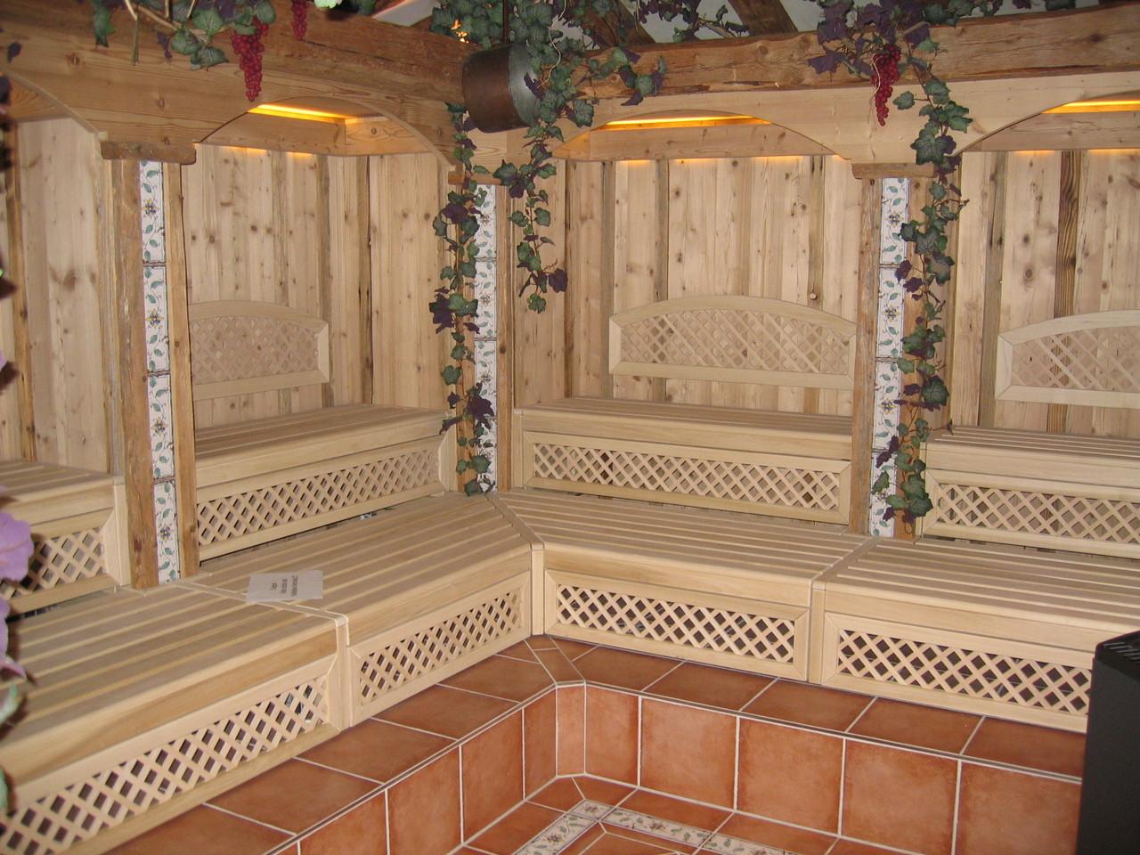 Sauna, überplattete Gitter