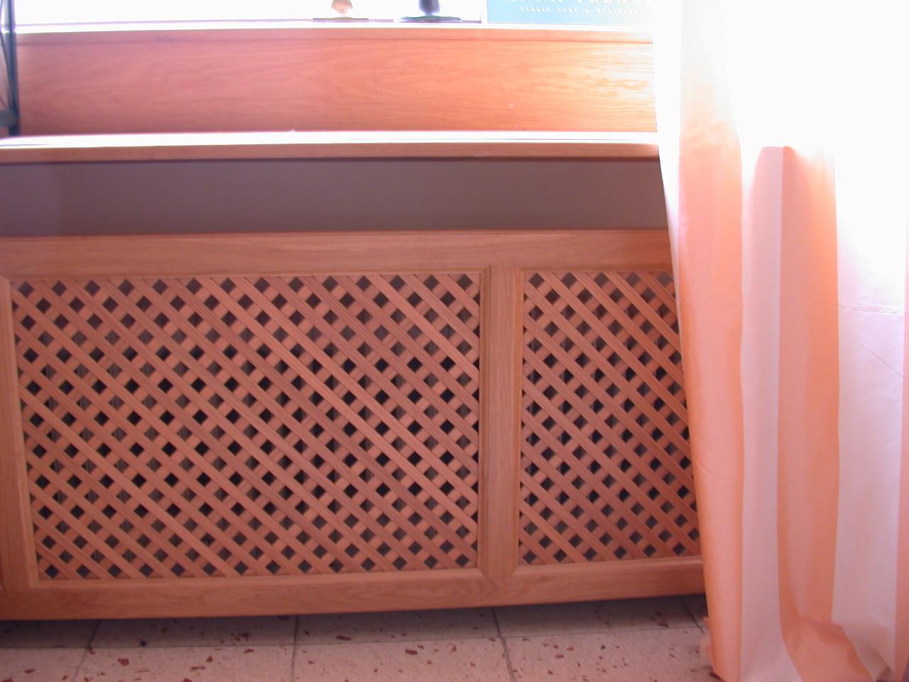Heizkörperverkleidung 4 mit Holzgitter Venedig Raster 16-16 Eiche