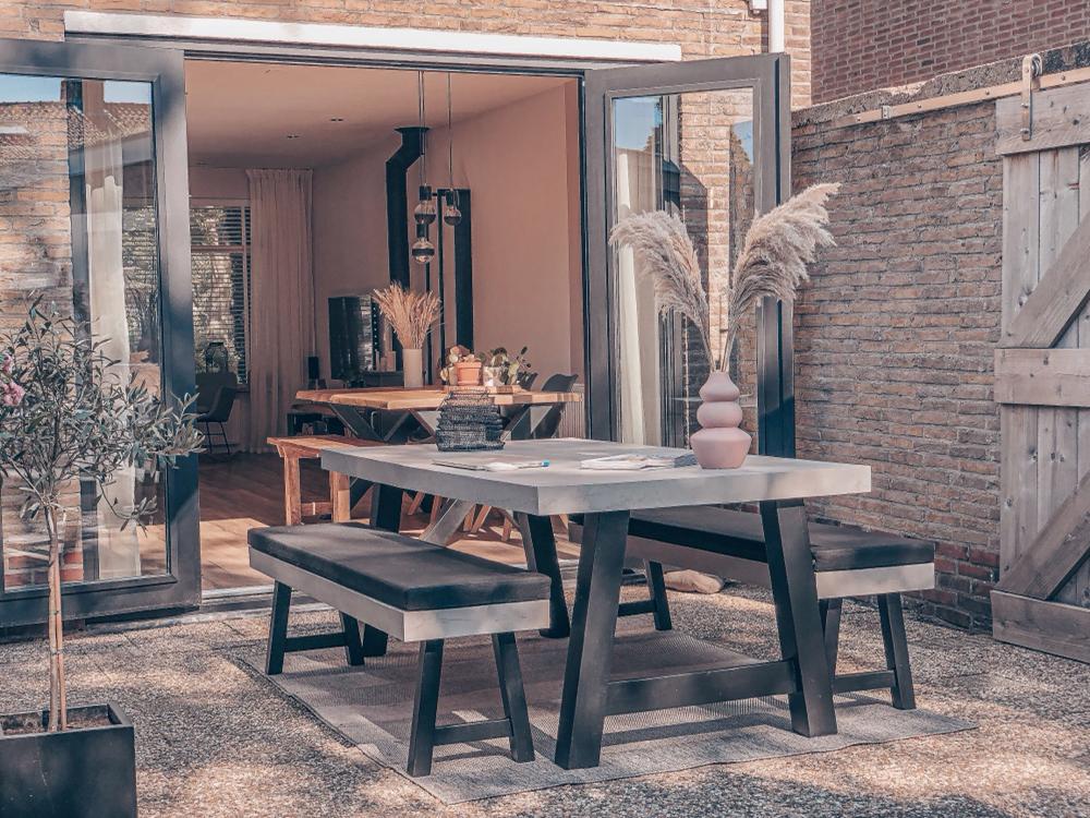 Betonlook tafelblad buiten - Beton cire Nederland