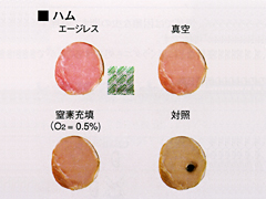 ◎変色防止能力(5℃×1ヶ月)エージレス使用なら真空保存に匹敵します。1ヶ月経っても変色しません。