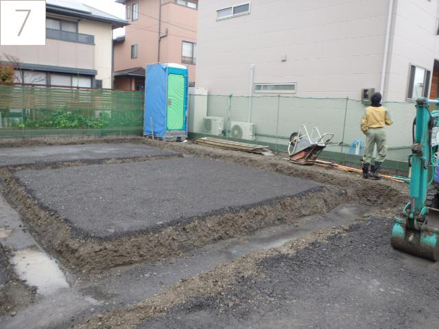 7.掘方(基礎を作るために地盤を掘削します)