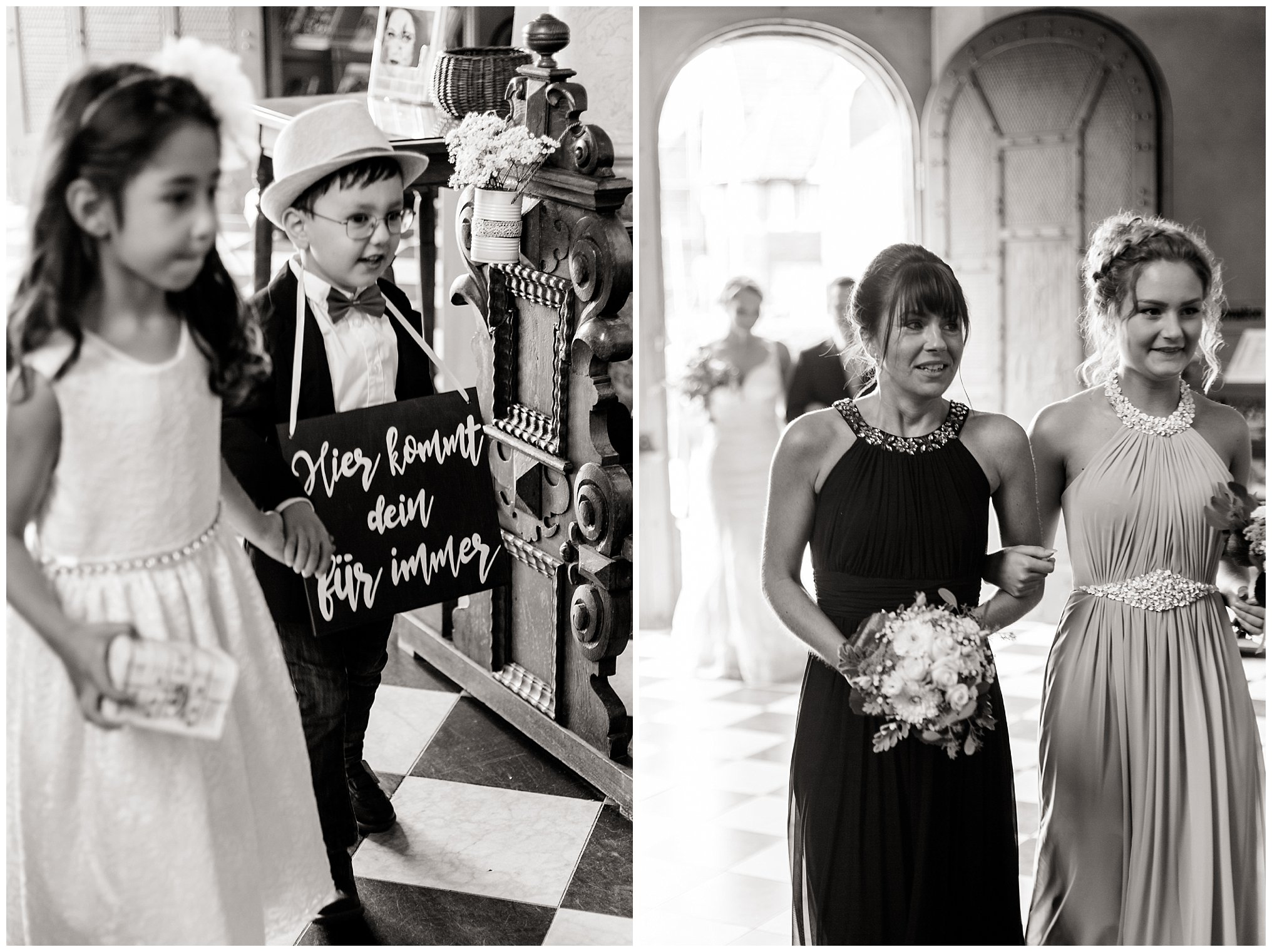 Einzug Kirche Golfhotel Vesper Hochzeit Sprockhövel Hochzeitsfotograf Jane Weber boho chic vintage fine art