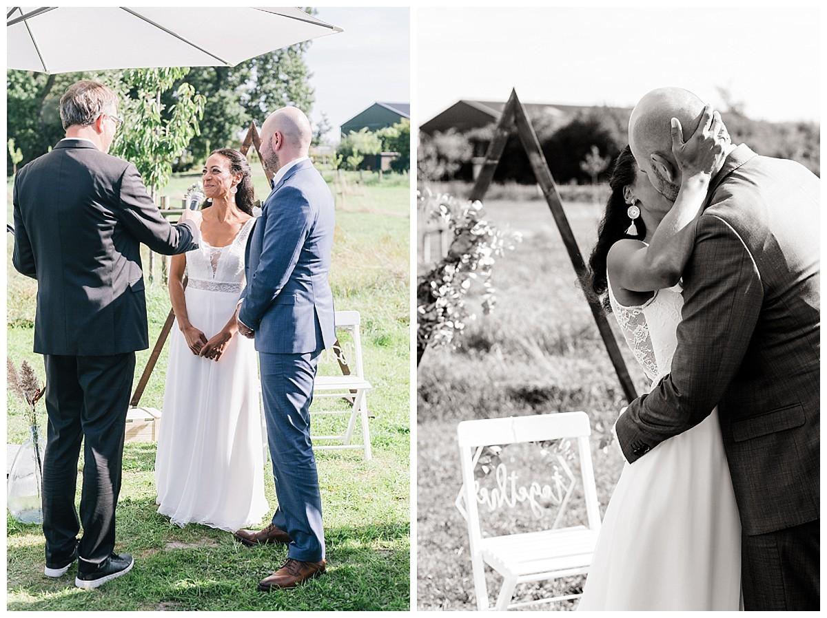 ja Wort Hochzeitskuss Neimeshof Kempen boho Hochzeit freie Trauung Scheunenhochzeit Hochzeitsfotograf Niederrhein Jane Weber