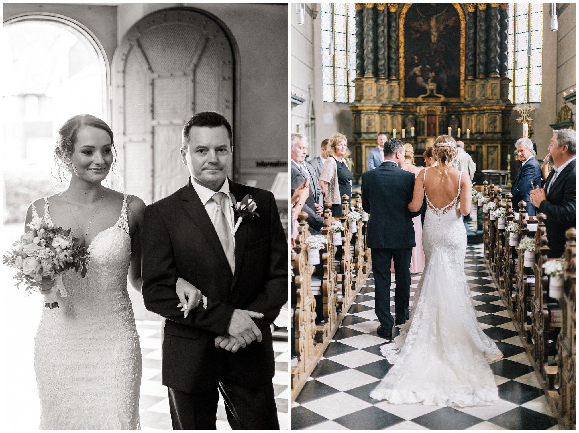 Einzug braut Kirche Golfhotel Vesper Hochzeit Sprockhövel Hochzeitsfotograf Jane Weber boho chic vintage fine art