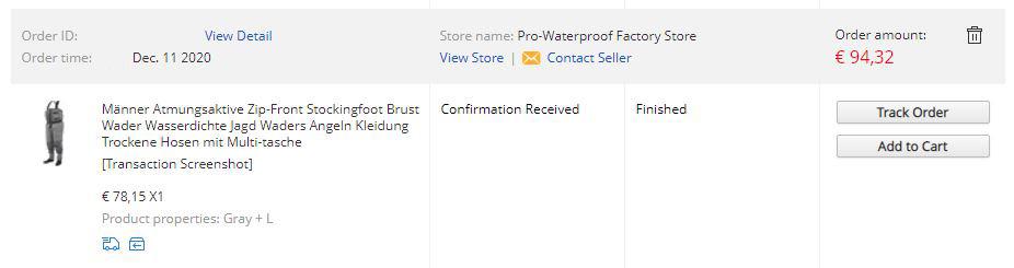 Screenshot Bestellung Aliexpress bei Pro-Waterproof