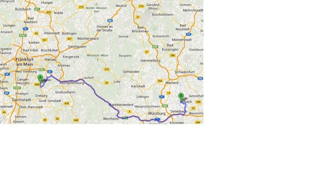 Karte von Google Maps - 5.6. - zu Hause - Nordheim