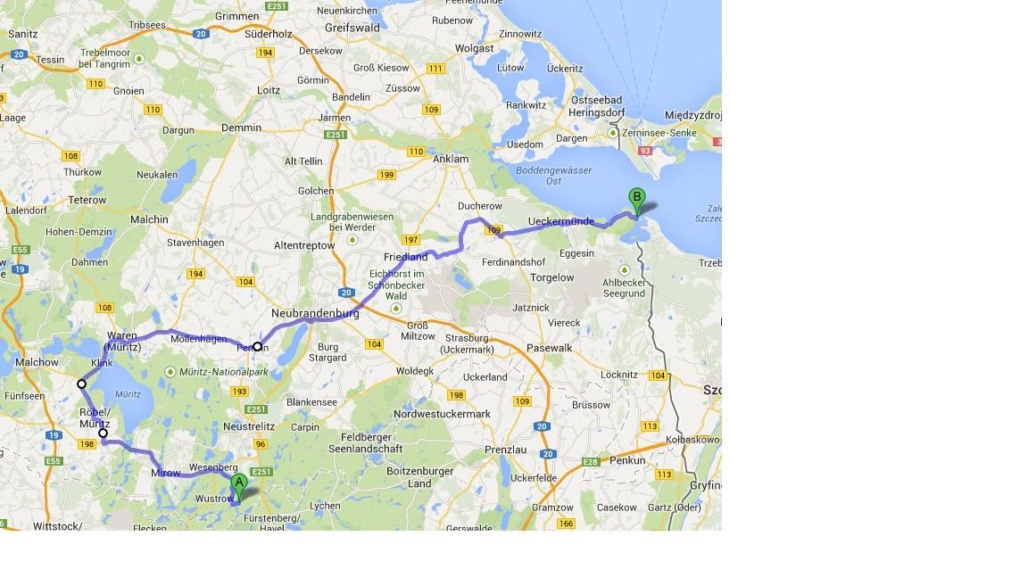 Karte von Google Maps - 16.7. - Priepert - Altwarp