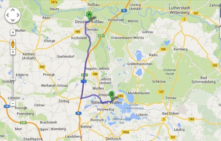Karte von Google Maps - 11.7. - Dessau - Bitterfeld (Goitzsche) - Dessau