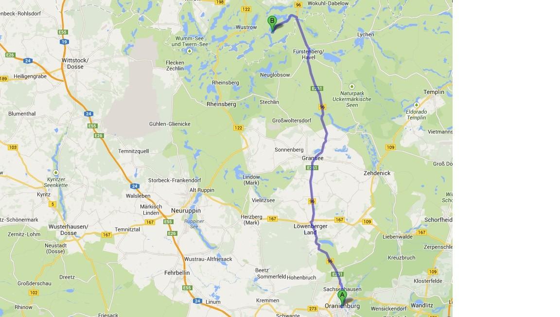 Karte von Google Maps - 13.7. - Oranienburg - Priepert