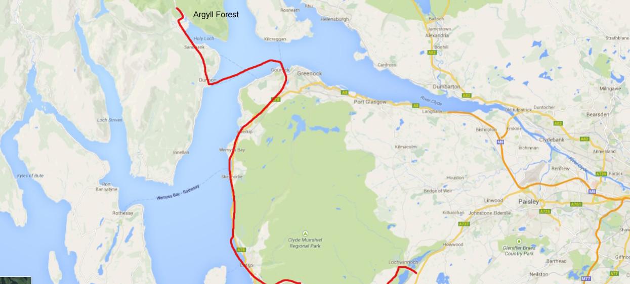Karte von Google Maps - Unsere heutige Route