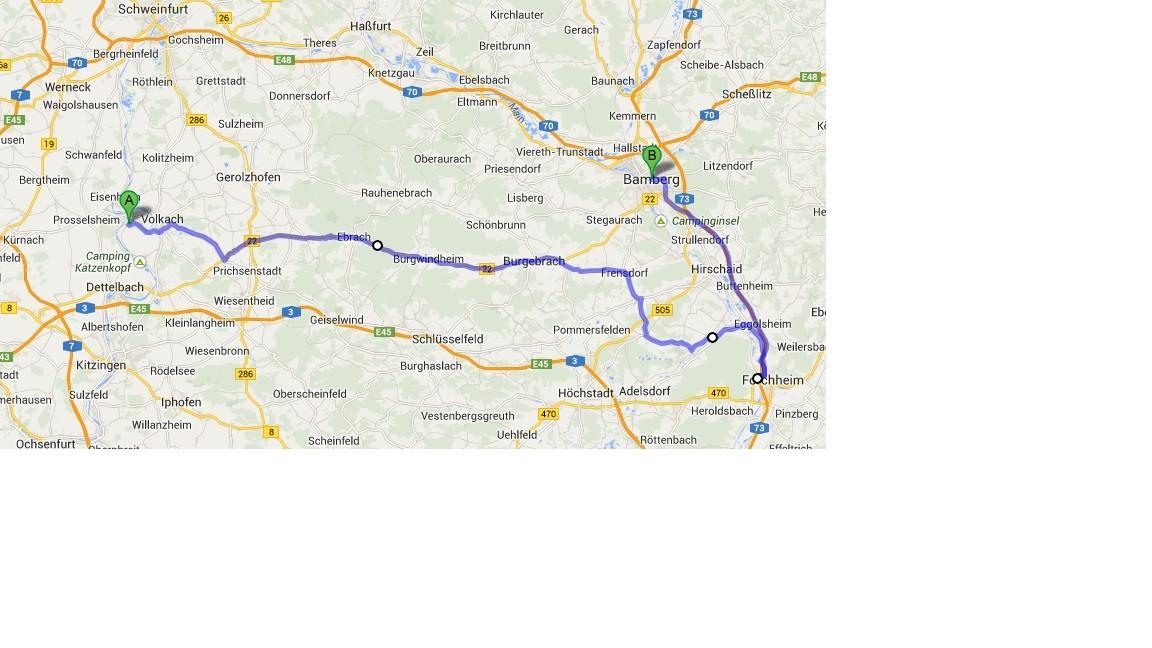 Karte von Google Maps - 8.7. - Nordheim - Forchheim - Bamberg