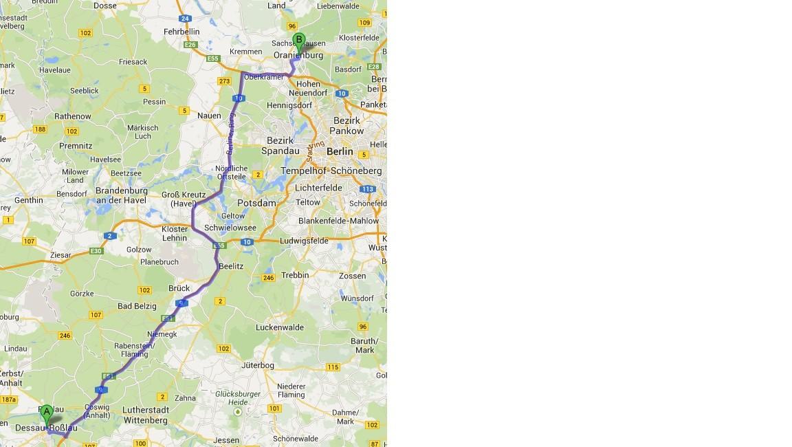 Karte von Google Maps - 12.7. - Dessau - Oranienburg