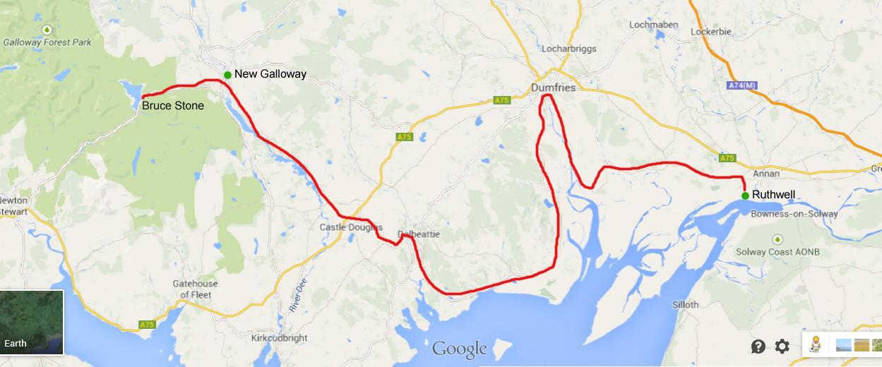 Karte von Google Maps - Heutige Route