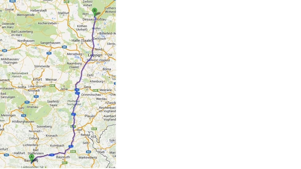 Karte von Google Maps - 9.7. - Bamberg - Dessau