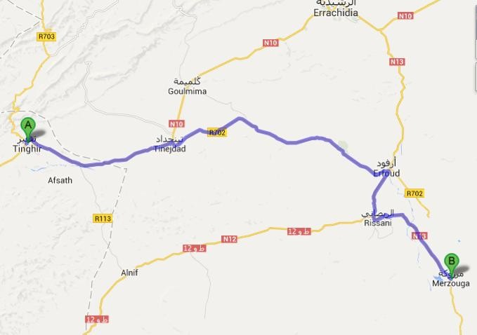 8.4. - Todhra Schlucht - Merzouga - Karte von Google Maps