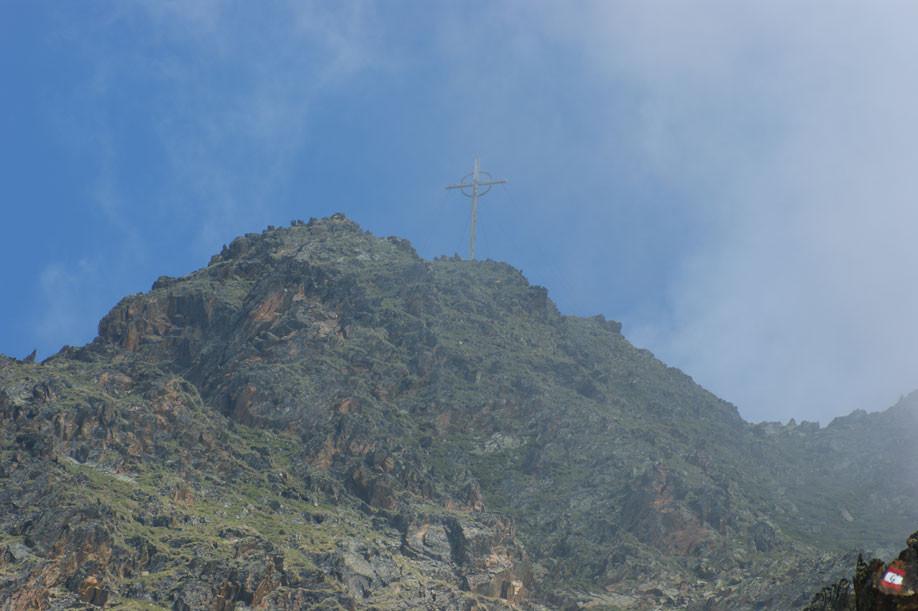 Wolfs Wanderung am Freitag auf die Kirchbachspitze 3.056 m, wegen Nebels gibt es nur das eine Bild