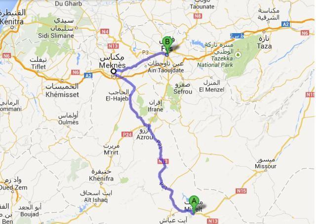13.4. - Midelt - Fes - Karte von Google Maps