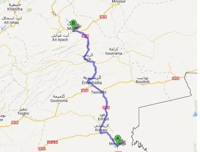 12.4. - Merzouga - Midelt - Karte von Google Maps