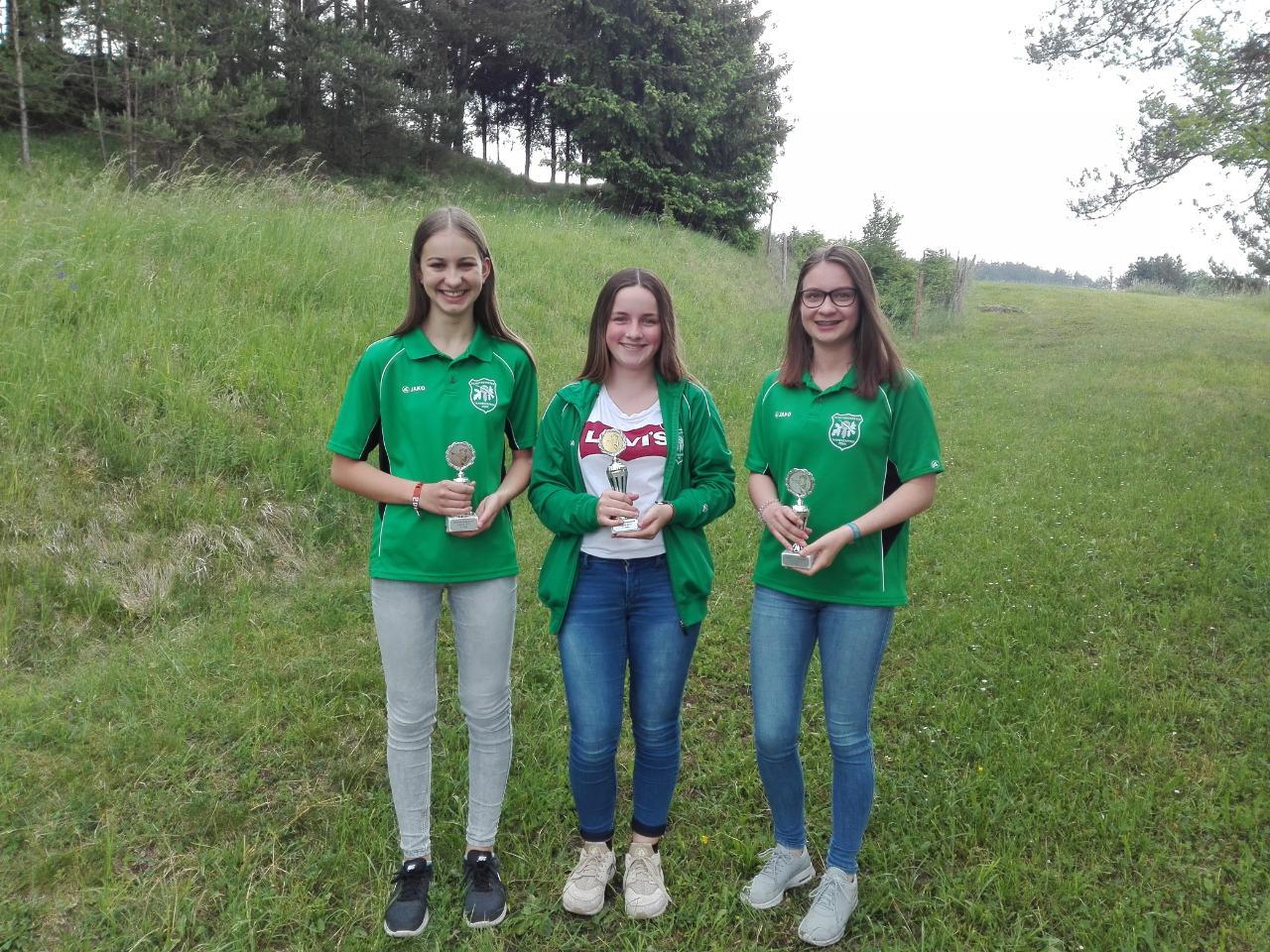 v.l.n.r. 3. VM Jugend Julia Meindl, 1. VM Anna Mittermeier, 2. VM Theresa Hetzenecker