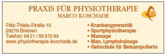 Praxis für Physiotherapie, Massagen, Krankengymnastik Koschade in Bremen