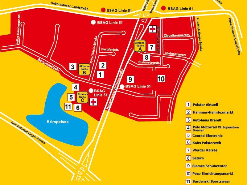 Erdbeerfest Karte mit teilnehmenden Anbietern Bremen-Habenhausen