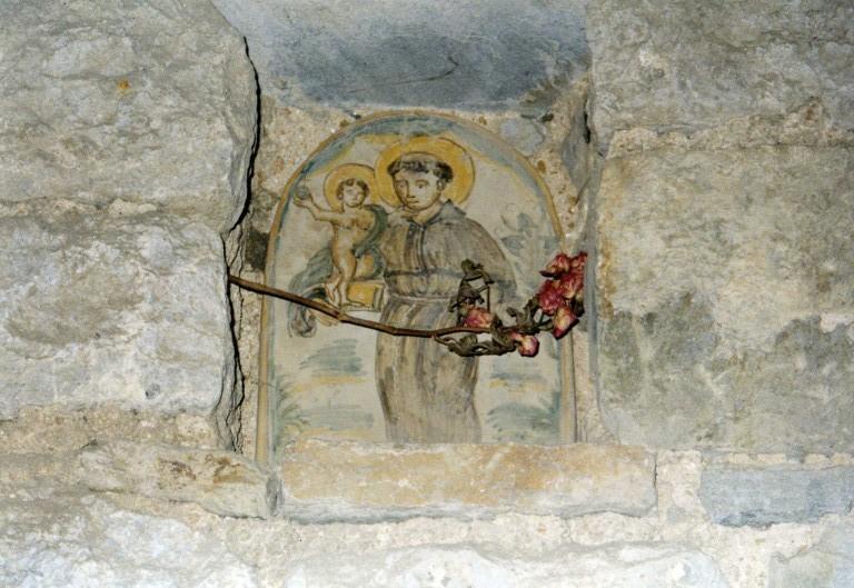 Sant'Antonio, disegno su pietra, XIX secolo circa. Arco di via papa Giovanni XXIII