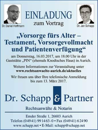 Einladung zum Vortrag fürs Alter von Schnapp & Partner Rechtsanwälte & Notar in Aurich