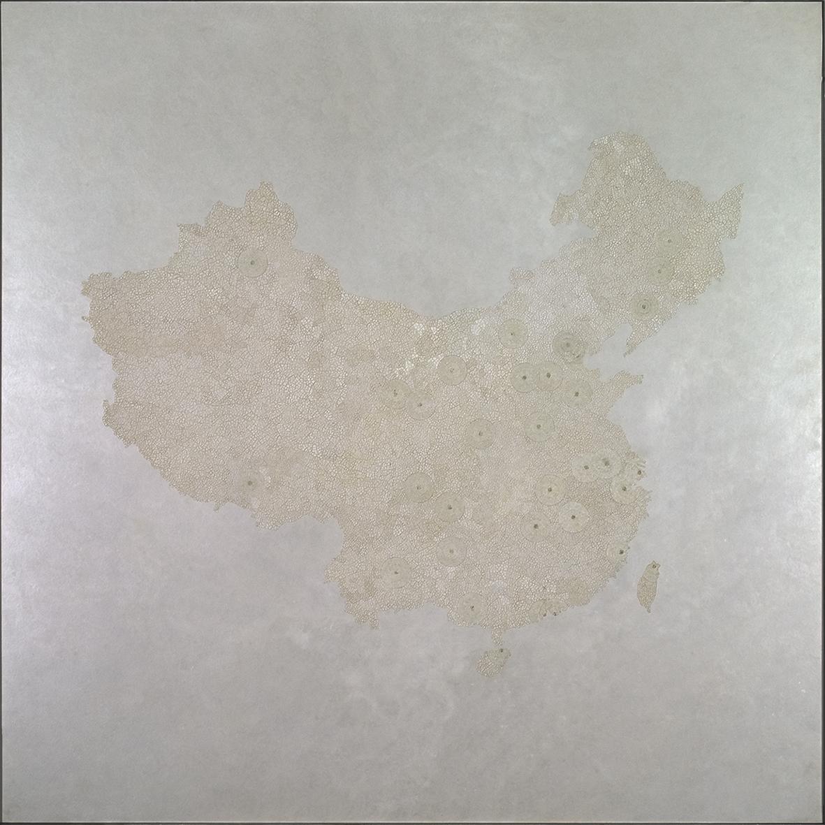 L'exode rurale  - Laque avec incrustation de coquilles d'œufs, finition vernis - Dimension : 100 x 100 cm