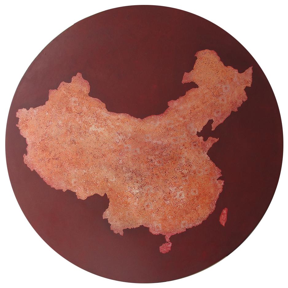 Rouge de Chine - Laque avec incrustation de coquilles d'œufs teintées à l'encre rouge, finition vernis - Dimension : 80 cm dia