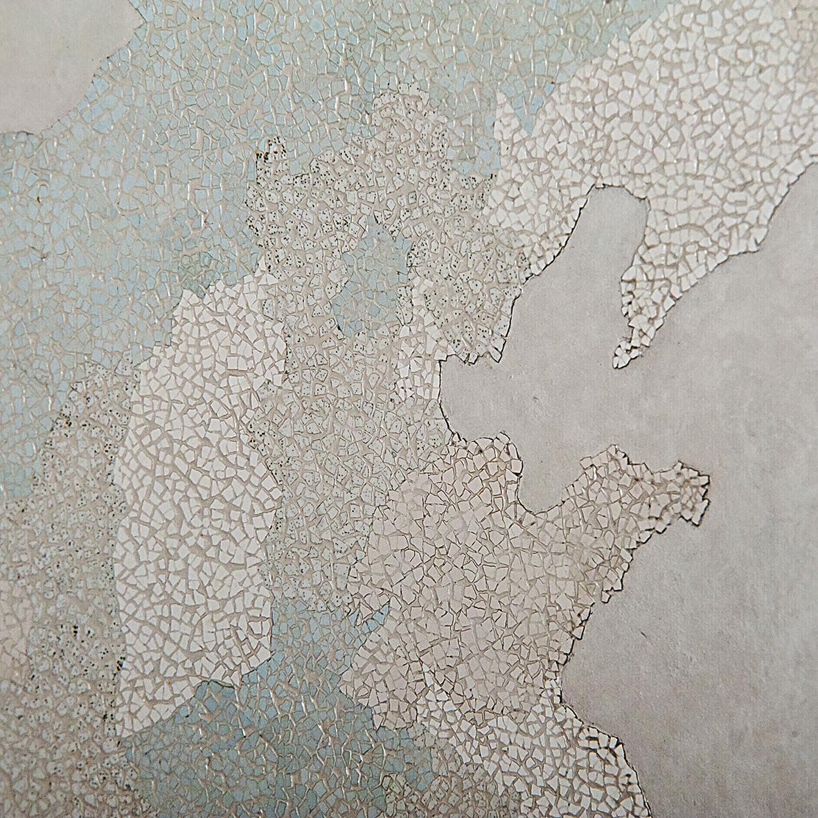 Provinces de Chine  - Laque avec incrustation de coquilles d'œufs, finition vernis - Dimension : 100 x 100 cm