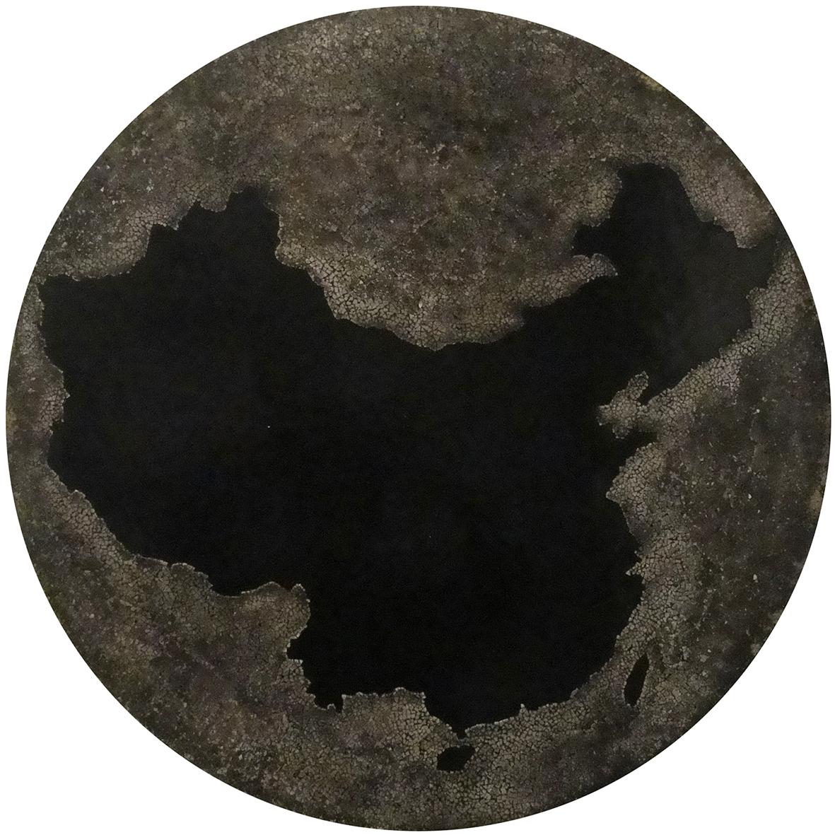Ombre chinoise - Laque avec incrustation de coquilles d'œufs teintées à l'encre de chine, finition vernis - Dimension : 60 cm dia