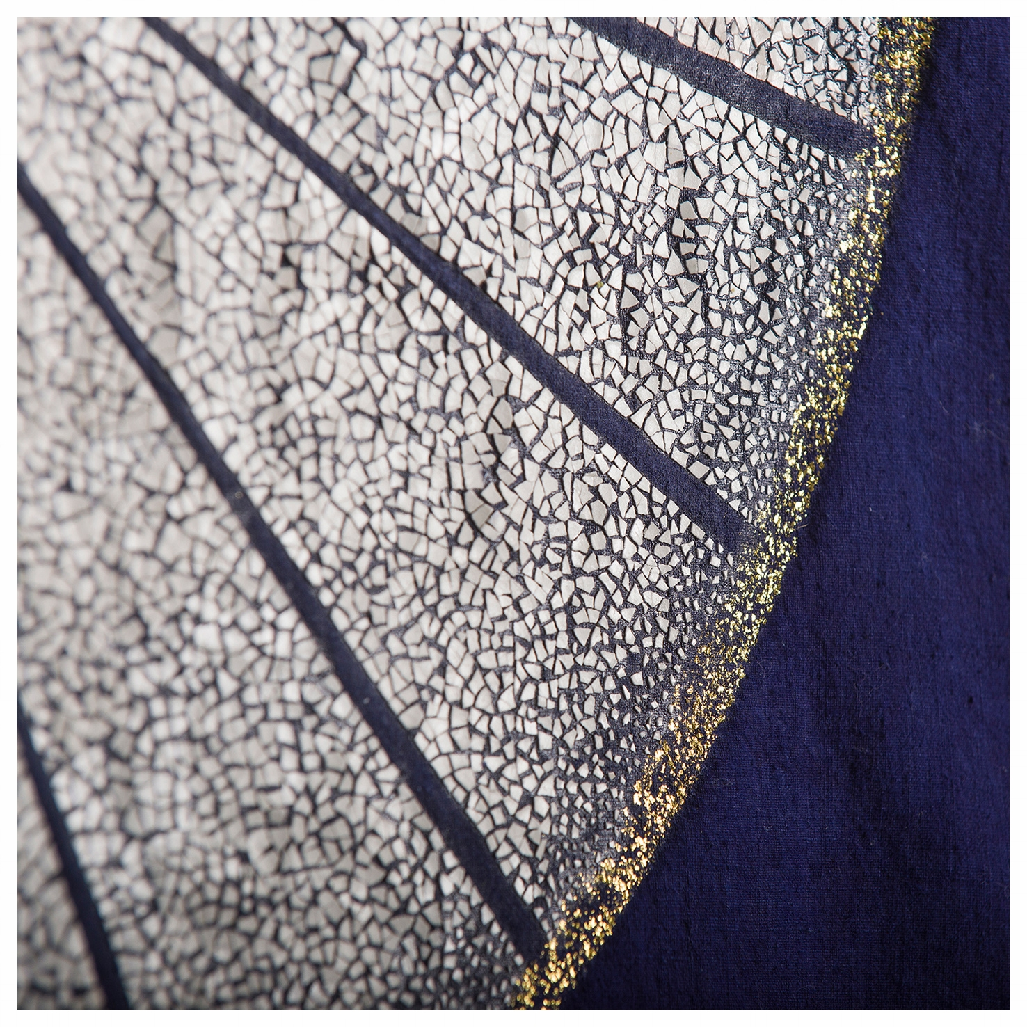 Moonrise - Indigo fabric from China with gold leaves and eggshells - Size : 90 x  120 cm