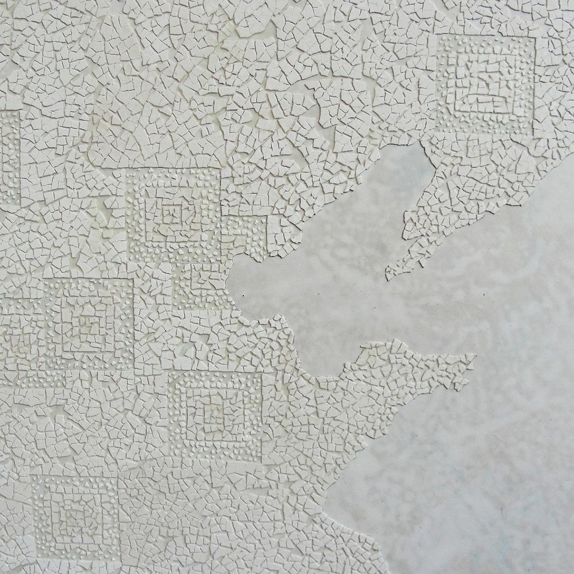 L'exode rurale  - Laque avec incrustation de coquilles d'œufs, finition vernis - Dimension : 100 cm dia