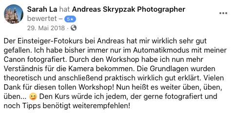 Kundenmeinung zu dem Fotoworkshops, Zootiere, Nachtfotografie, Einsteiger Fotokurs.