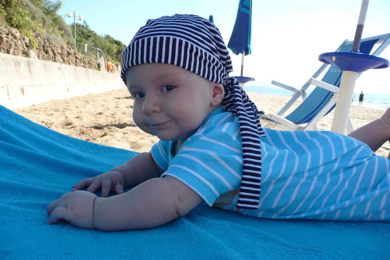 Strandurlaub mit Baby, 4 Monate alt