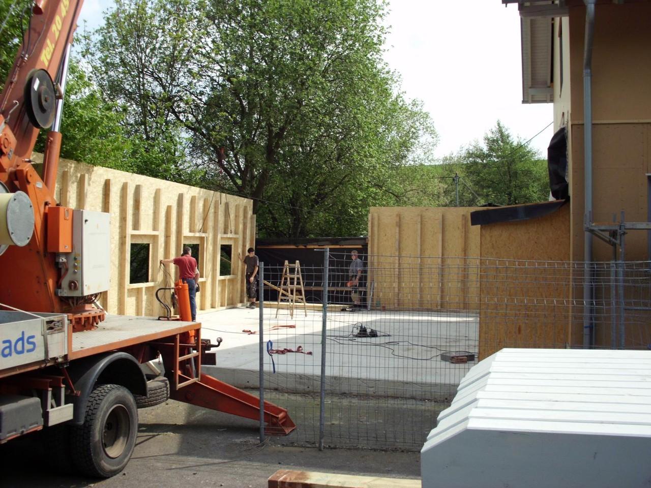 Aufbau der Werkstatt (Holzrahmenbau)